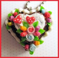 Flower Wedding Cake Necklace by cherryboop