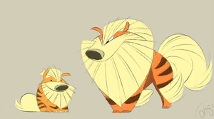 Arcanine and Growlithe by Canvascope