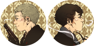 BBC Sherlock Buttons by sweetlittlekitty