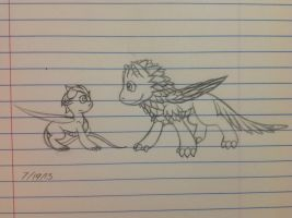 Baby Sikkic and Scarlet sketch - 7/19/13 by Jestloo