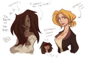 POTC ladies Sketchdump by hanime87