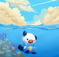 Oshawott under the water. by verrmont