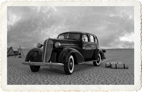 1936 Chevy on the Lake Bed by sublumenal