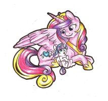 Flurry Heart and her mommy by TwixyAmber