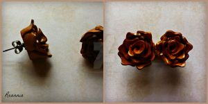 Gold Rose Earrings by Rhiannon-San