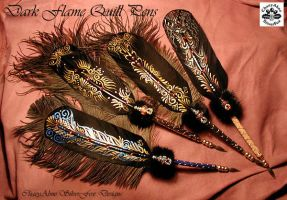 DARK FLAME Feather Quill Pens by ChaeyAhne