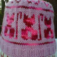 Knitted Meow kitty hat by crochetamommy
