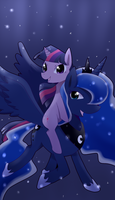 princess Luna and Twilight by hsm324710