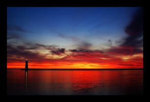 sunset on frankfort harbor by Zoomwafflez