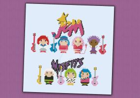 Mini People - Jem and the Holograms cross stitch by cloudsfactory