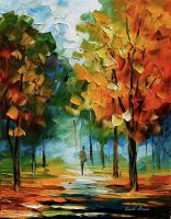 Fall forest by Leonid Afremov by Leonidafremov