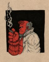 Inktober #6-Hellboy by BritAndBran