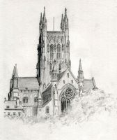 Worcester Cathedral old drawing by dashinvaine