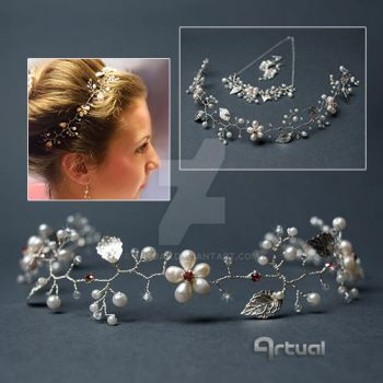 Bridal hair vine with white freshwater pearls by artual