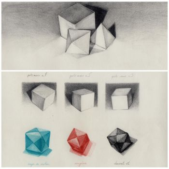 Cubes and Pyramids study by crayon2papier
