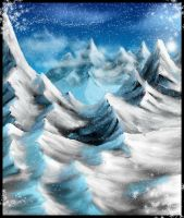 Mountians and snow by Destinyfall