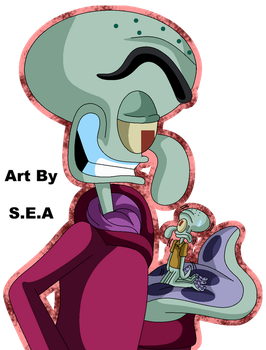 Point Commission - Big Squilliam Tiny Squidward by SkunkyNoid