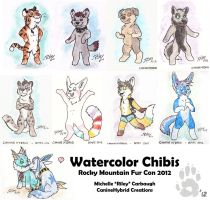 Watercolor Chibi ACEOs by CanineHybrid