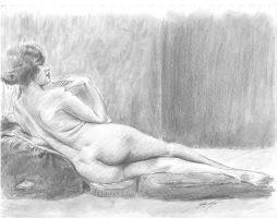 vintage Nude reclined pose pillows by mozer1a0x