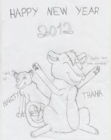 Happy new year 2012, from Thama and Nahity by CrazyJefffersonian