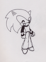 Sonic in actual CLOTHES by LeaTheWolf