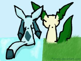 Glaceon and Leafeon by parvanii