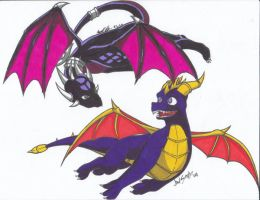Spyro and Cynder :collab: by GuardianOfTheFlame