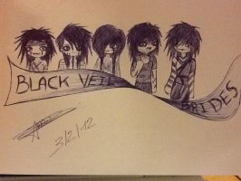 Black Veil Brides with a banner by PurdyMewMew
