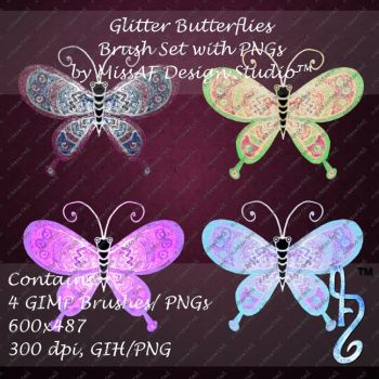 Glitter Butterflies Brush Set with PNGs Included by MissAFDesignStudio