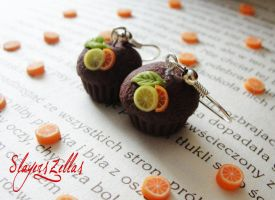 Chocolate muffin earrings with leaf, orange and le by Benia1991