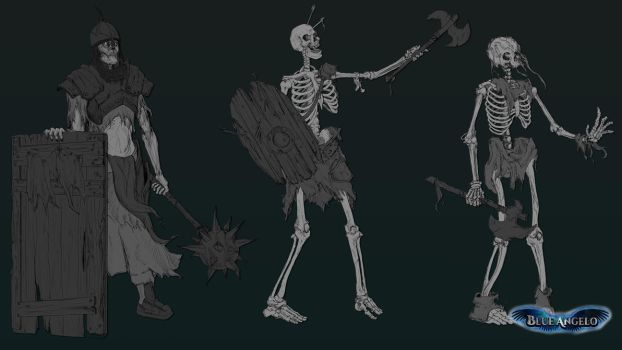 Blue Angelo : Concept art skeleton by Excalle