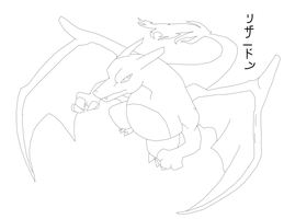 Charizard lineart by Blue-Diamond-Shadow