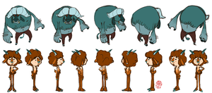Faun and Minoffalo Turnaround by madeinCOLOUR