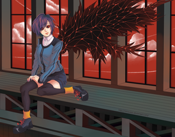 Kirishima Touka - black wing by Rena-666