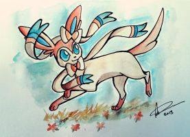 Sylveon watercolour - Pokemon X and Y by AmyVsTheWorld