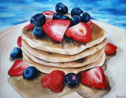 Pancakes with Strawberries and Blueberries by PDJ004