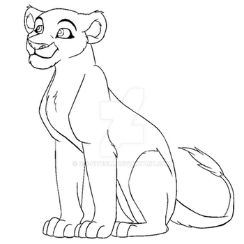 Lioness lineart(MS Paint Friendly) by CM-PitBull