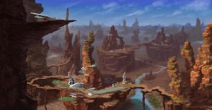 Town in desert by Lac-Tic