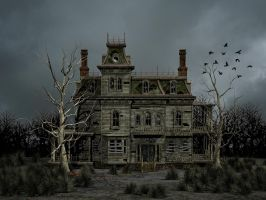 Haunted House Premade Background by Roys-Art