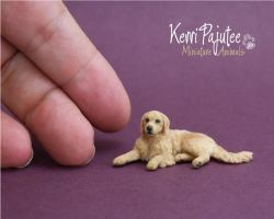 Miniature 1:24 scale Golden Retriever by Pajutee