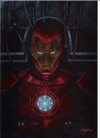 iron man on black color by LucaStrati