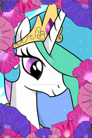 Celestia with morning glories by MermaidSoupButtons