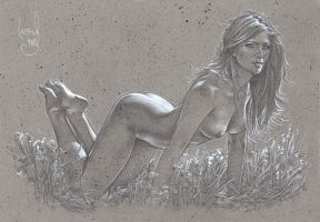 Allure - Nude Drawing by JeffLafferty