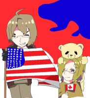 AMERICA! and canada by Fainting-Ostrich