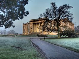 Foggy Morning Kimbolton Castle by davepphotographer