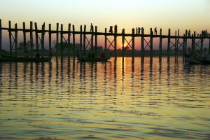 U Bein Bridge At Sunset 5 by CitizenFresh
