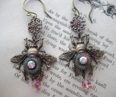 Steampunk Bumble Bee Earrings by NobleStudiosLtd