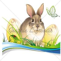 Easter Background With Rabbit by kingofvectors
