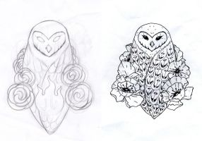 Owl and Poppies Tattoo Design (stolen, upgraded) by Ivoirine