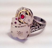 Steampunk Swarovski Ring by SteamDesigns